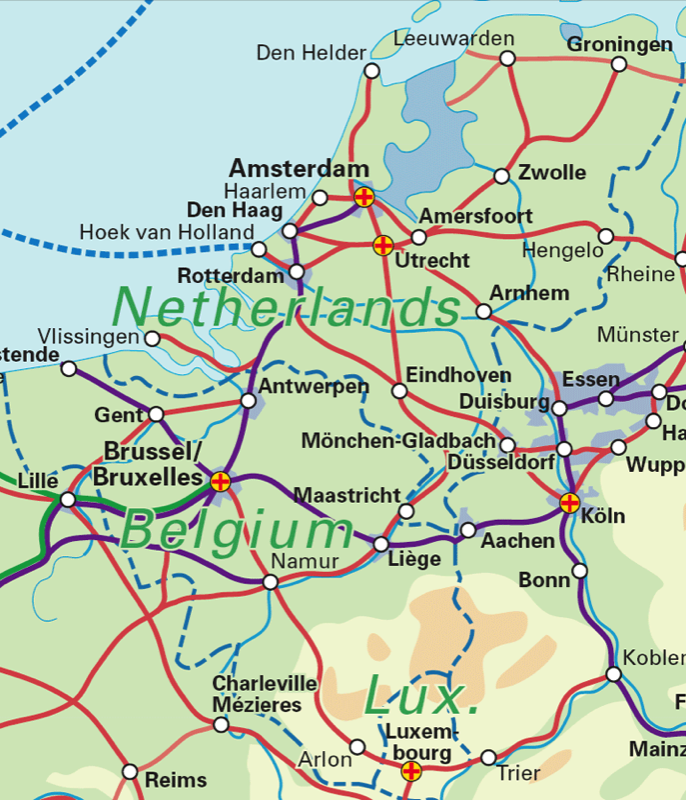 Benelux (Belgium, The Netherlands, Luxembourg) Rail Map - Airport Guide