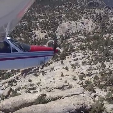 Dan Gimpel flying over the California Sierra Nevada mountains.