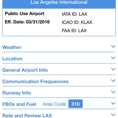 Airport Guide for Pilots app Airport Detail