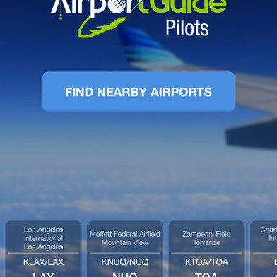 Airport Guide for Pilots app Home Page