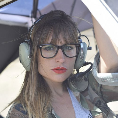 Woman pilot in training