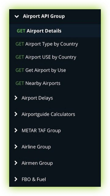 Listing of Airport Guide API Endpoints