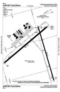 Norwood Memorial Airport (OWD) Diagram