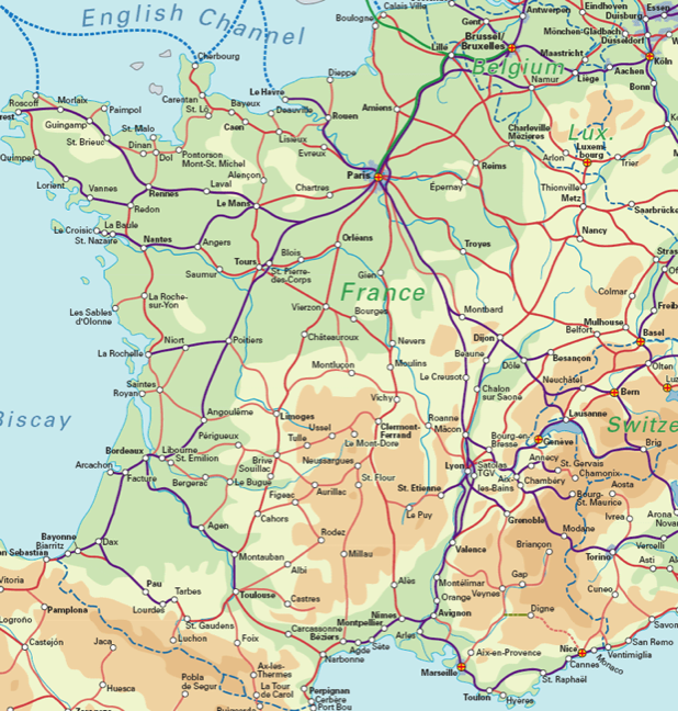 France Rail Map - Airport Guide