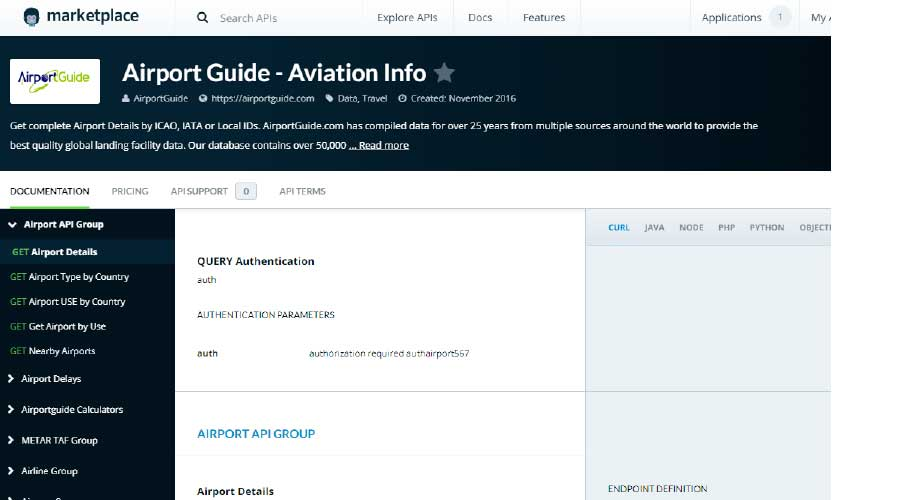 Step 3.2 Mashape Aviation Info