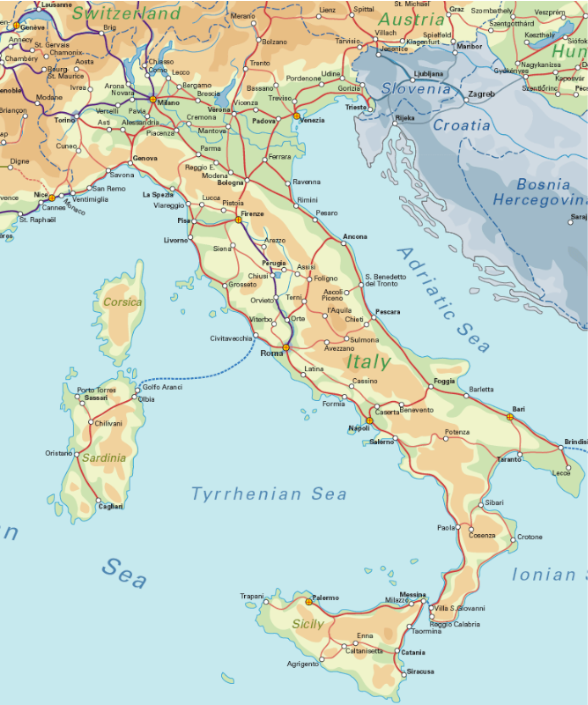 Italy Rail Map  Airport Guide