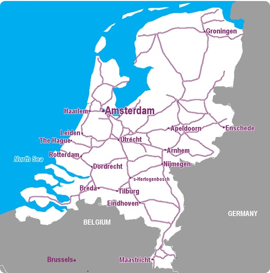 The Netherlands Rail Map Airport Guide