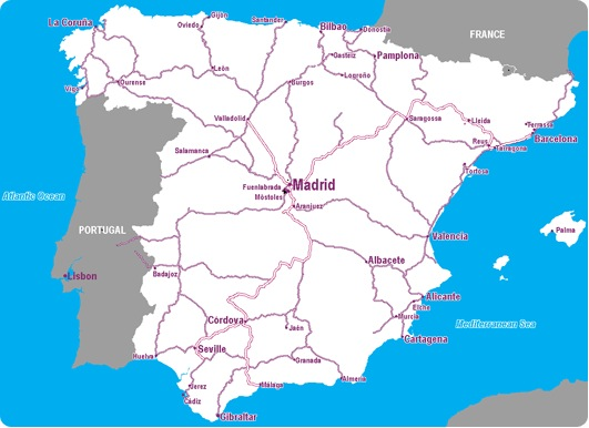 Map Of Spain With Airports.Spain Rail Map Airport Guide