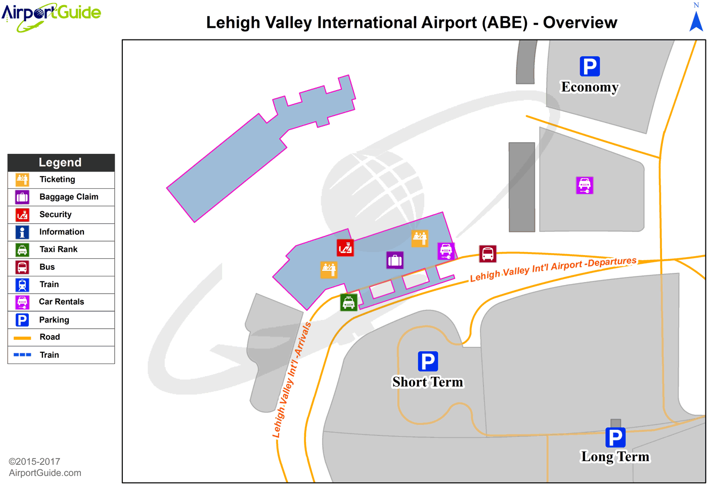 Allentown - Lehigh Valley International (ABE) Airport Terminal Map - Overview