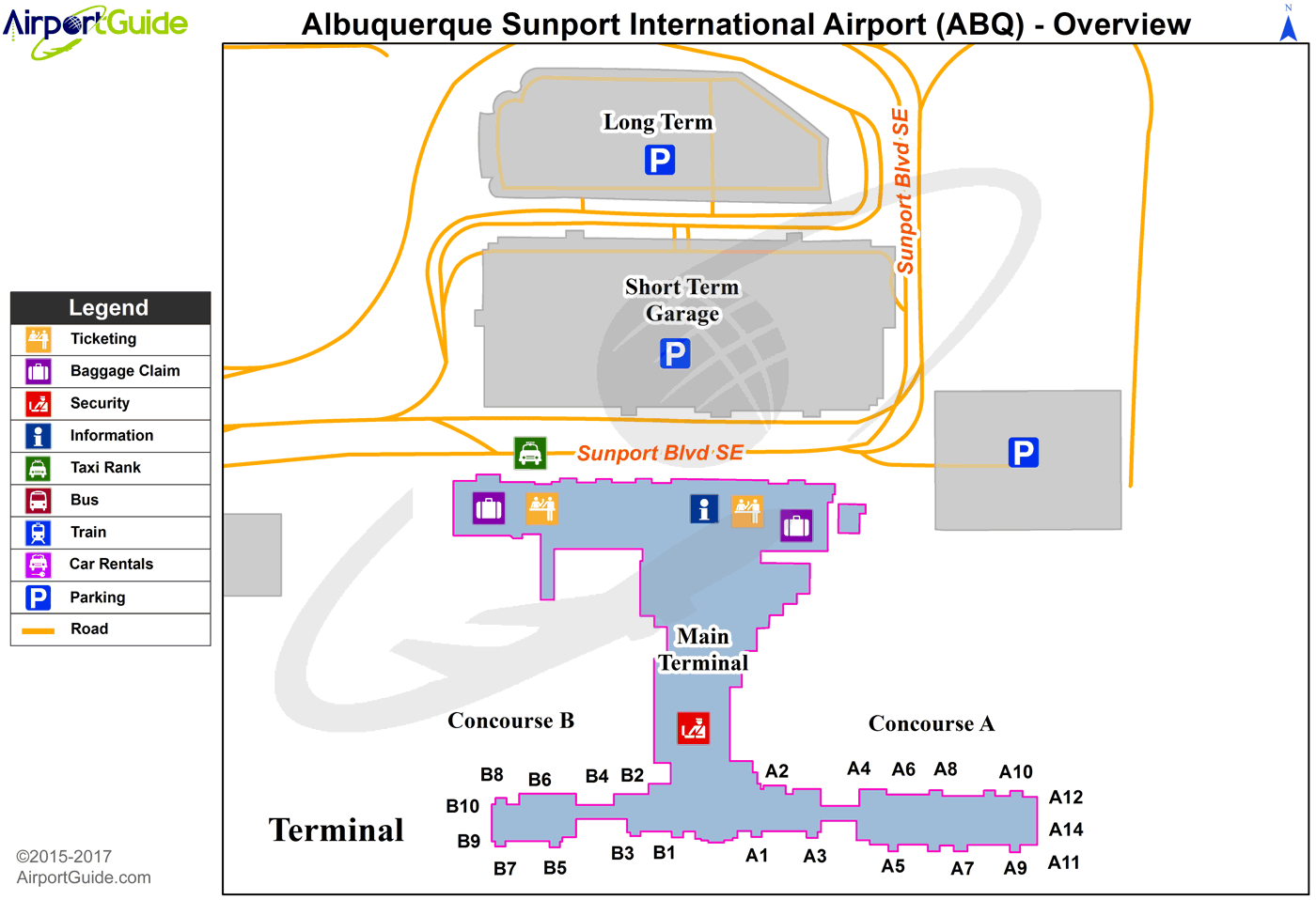 Albuquerque - Albuquerque International Sunport (ABQ) Airport Terminal Map - Overview