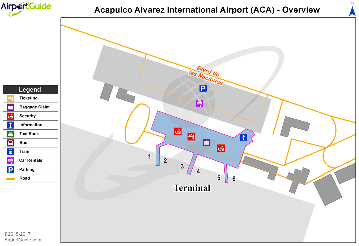 Acapulco - General Juan N Alvarez International (ACA) Airport Terminal Map - Overview