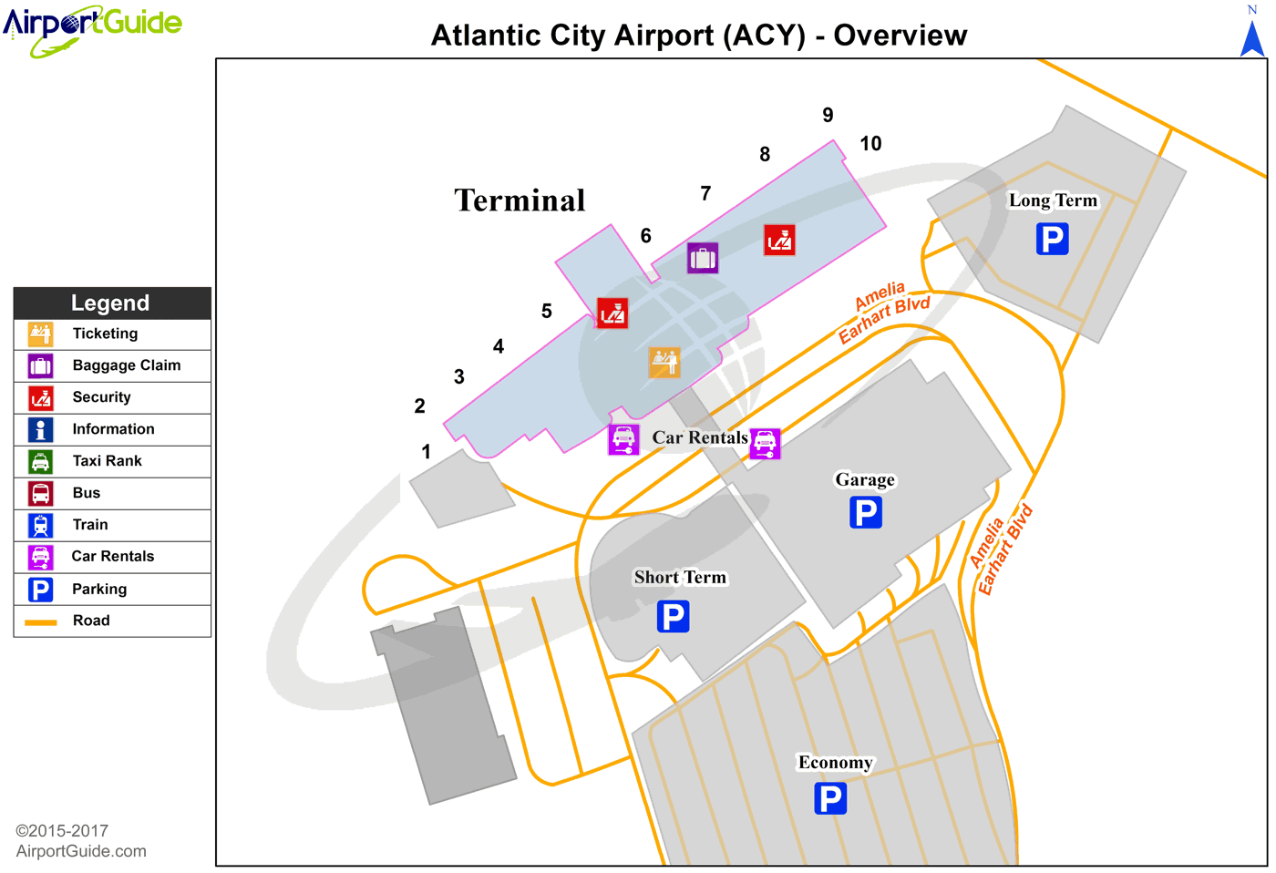 Atlantic City - Atlantic City International (ACY) Airport Terminal Map - Overview