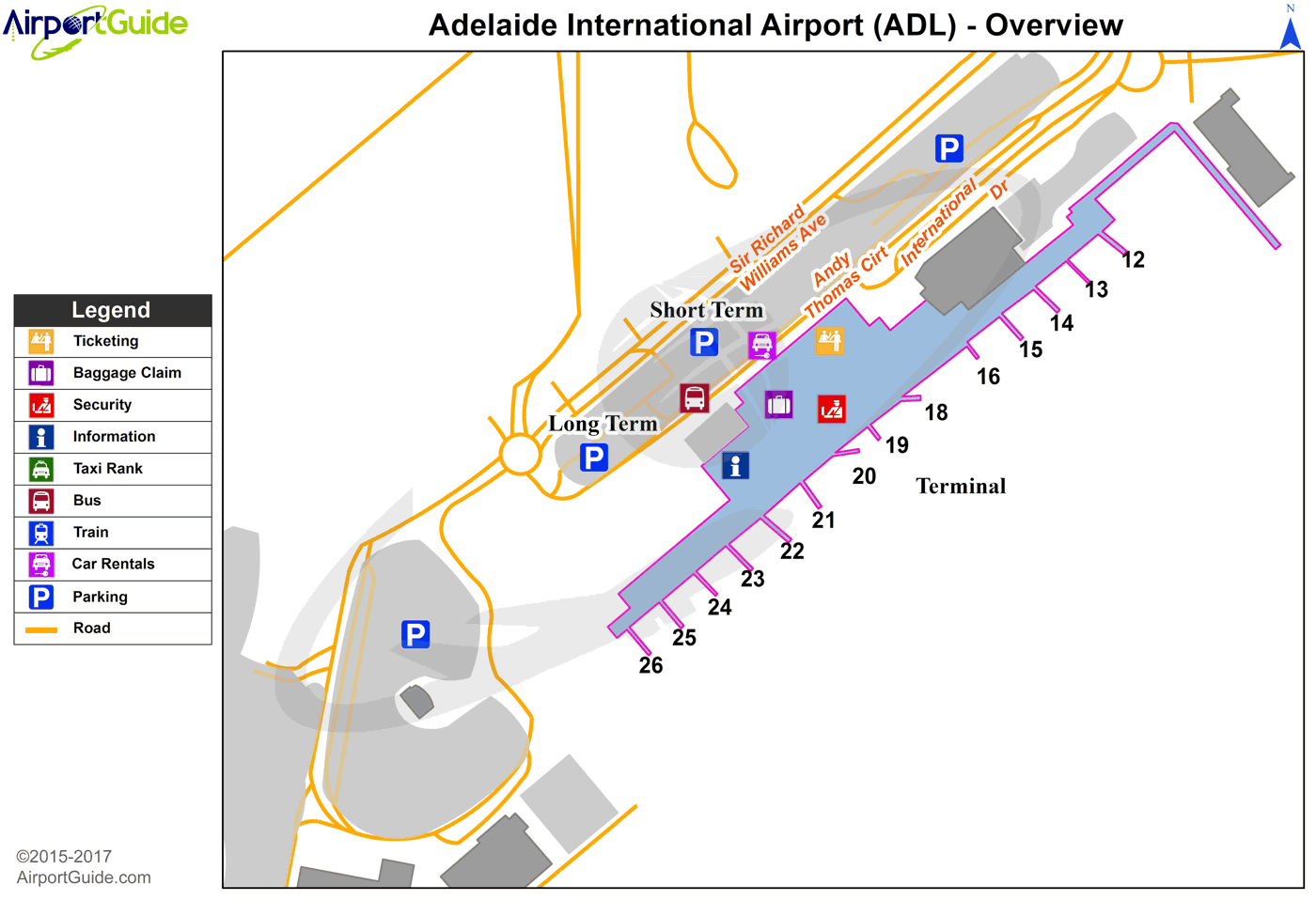 Adelaide - Adelaide International (ADL) Airport Terminal Map - Overview