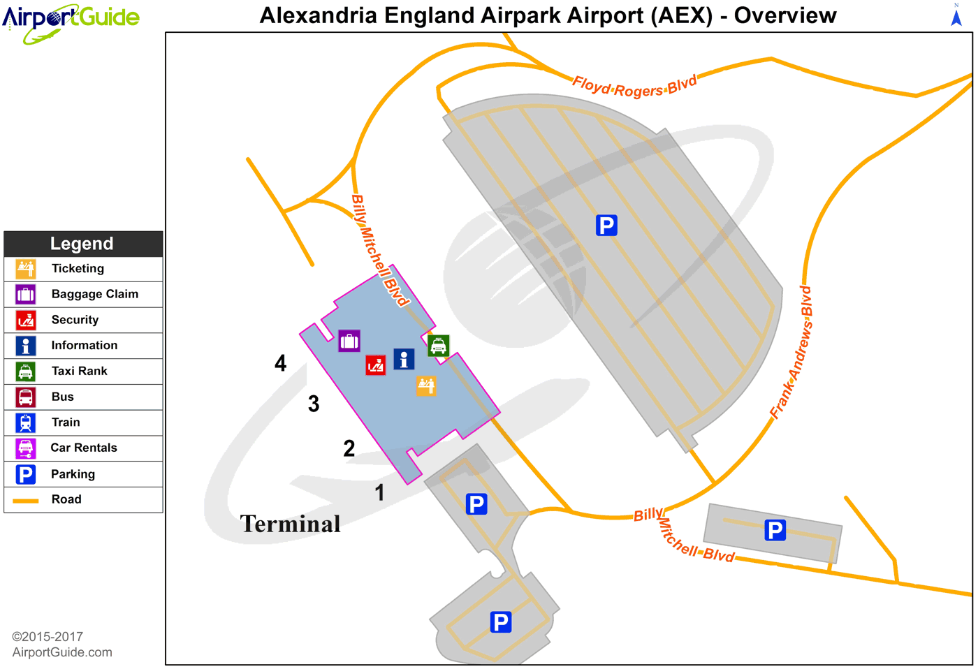 Alexandria - C E 'Rusty' Williams (AEX) Airport Terminal Map - Overview