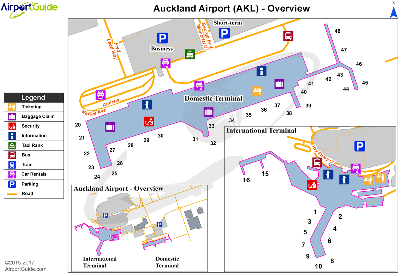 Auckland - Auckland International (AKL) Airport Terminal Map - Overview