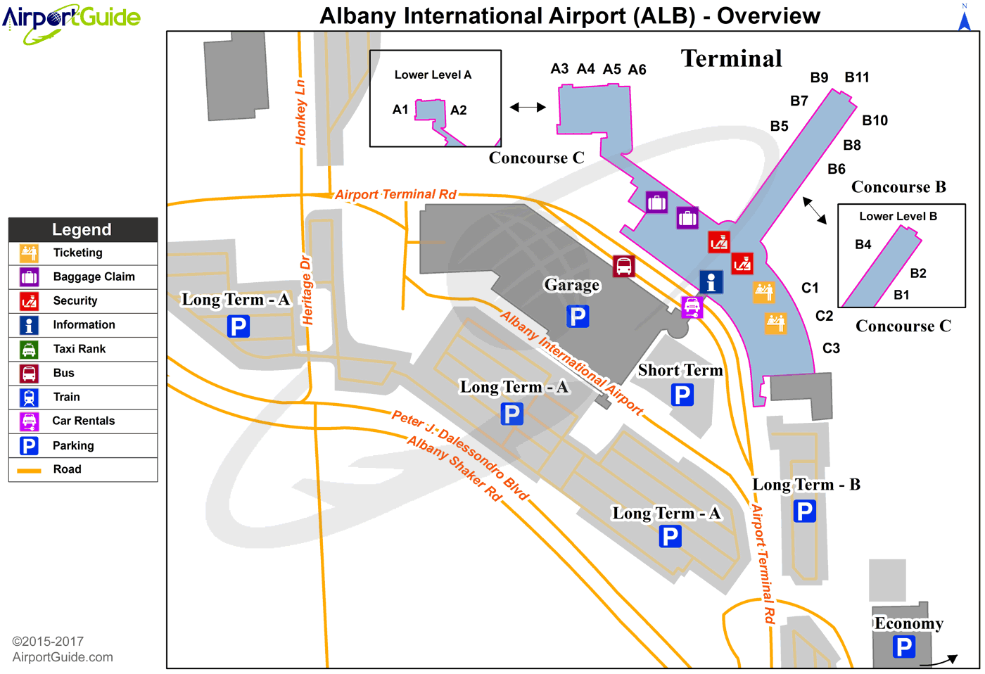 Albany - Albany International (ALB) Airport Terminal Map - Overview