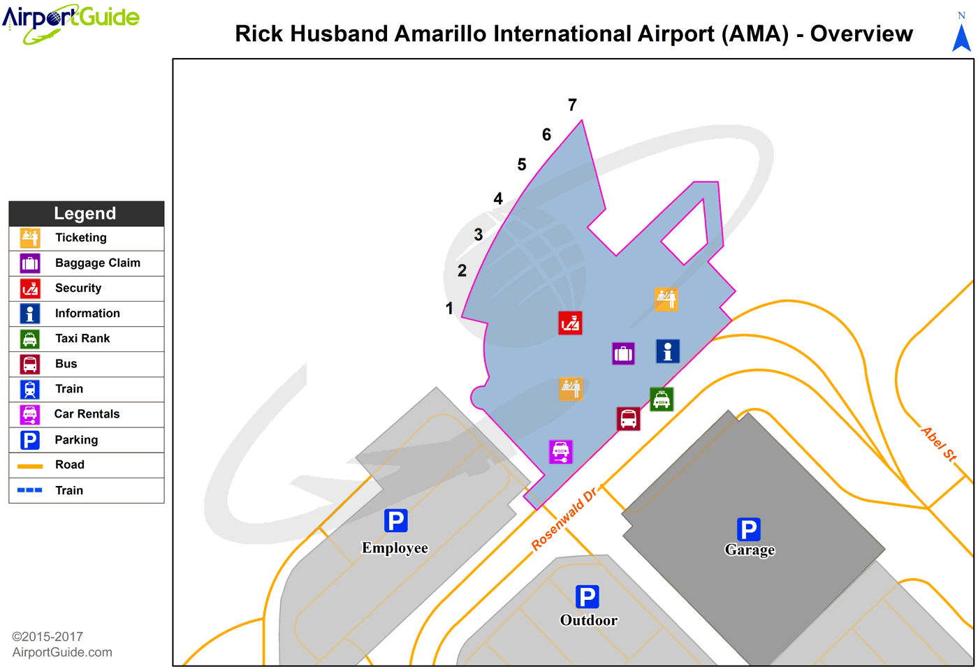 Amarillo - Rick Husband Amarillo International (AMA) Airport Terminal Map - Overview
