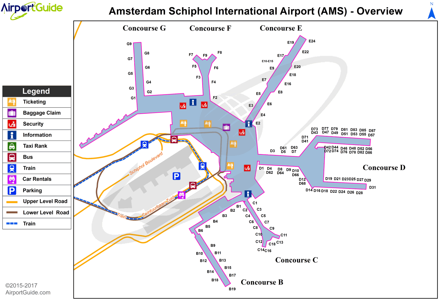 AMS Airport Terminal Map - Overview