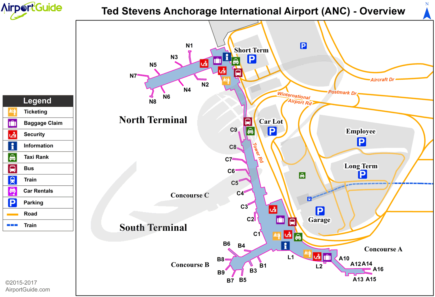 Anchorage - Ted Stevens Anchorage International (ANC) Airport Terminal Map - Overview