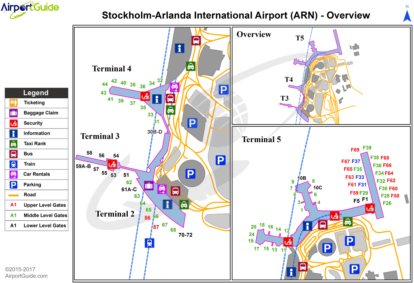 Stockholm - Stockholm-Arlanda (ARN) Airport Terminal Map - Overview