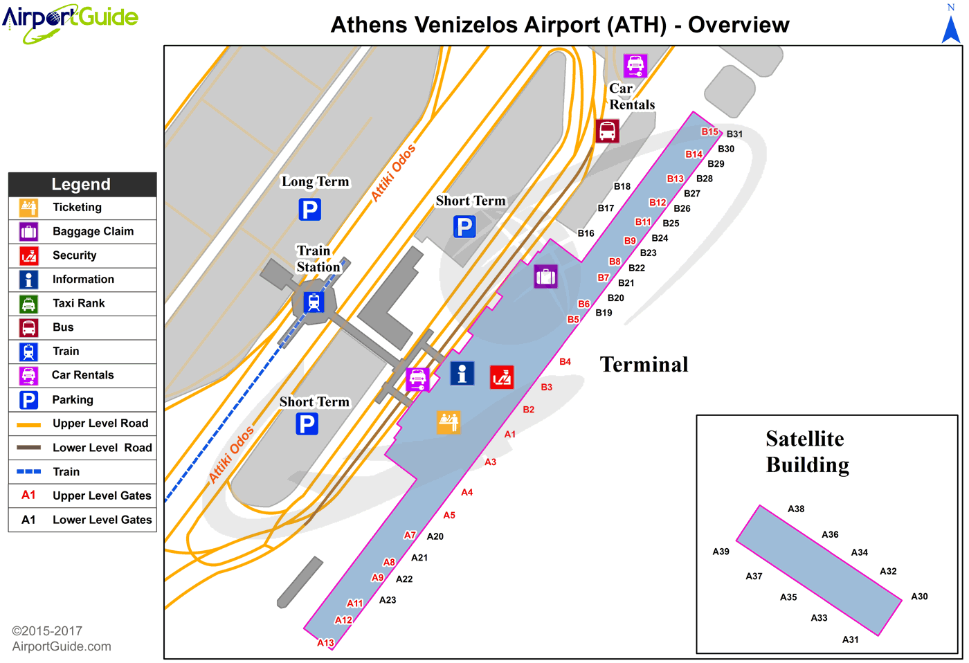 Athens - Eleftherios Venizelos International (ATH) Airport Terminal Map - Overview
