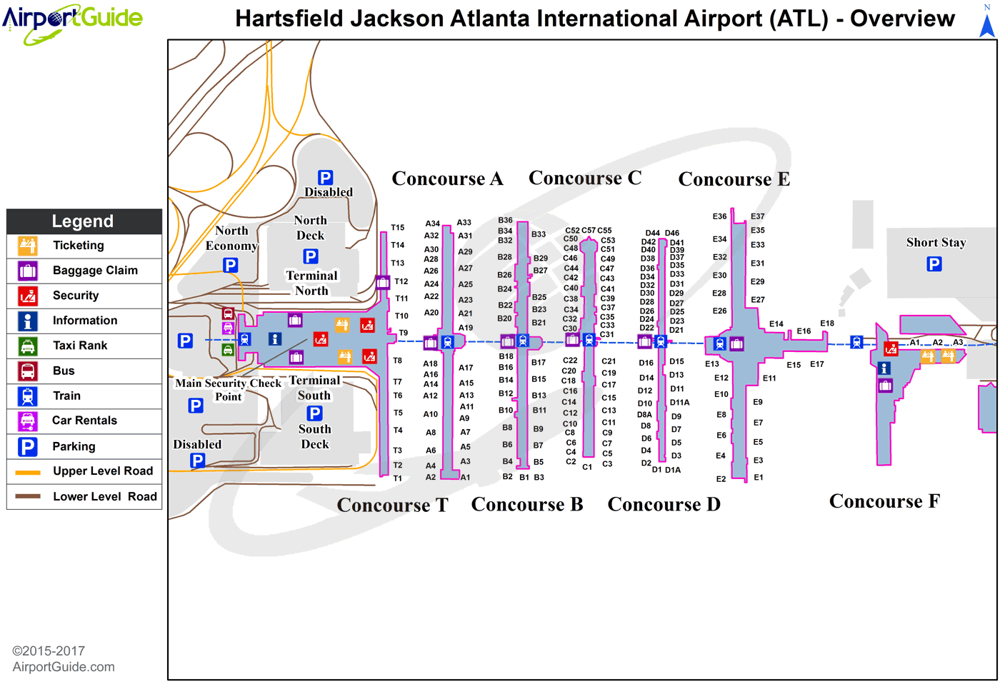 Atlanta - Hartsfield - Jackson Atlanta International (ATL) Airport Terminal Map - Overview