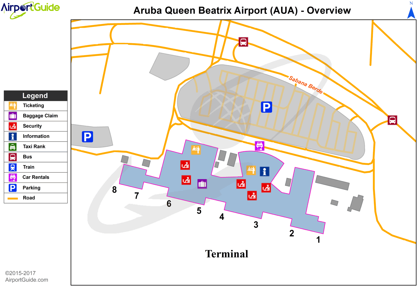 Oranjestad - Queen Beatrix International (AUA) Airport Terminal Map - Overview