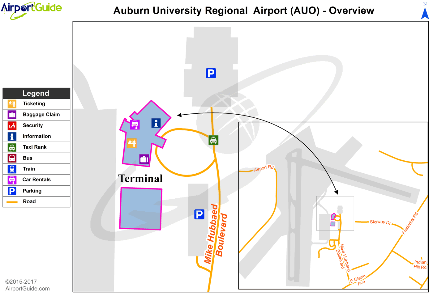 Auburn - Auburn University Regional (AUO) Airport Terminal Map - Overview