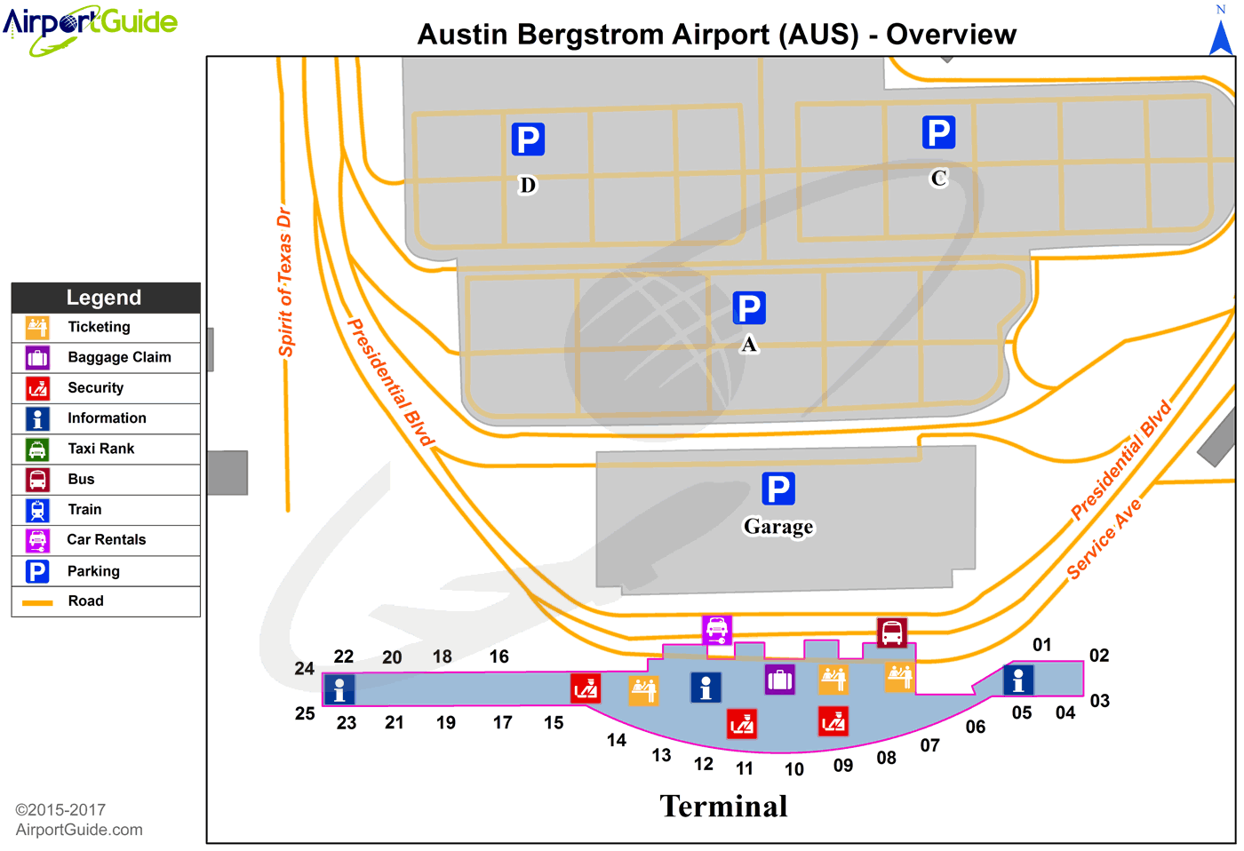 Austin - Austin-Bergstrom International (AUS) Airport Terminal Map - Overview