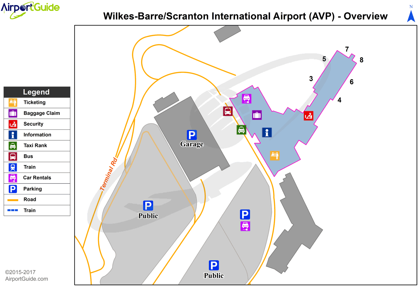 Wilkes-Barre/Scranton - Wilkes-Barre/Scranton International (AVP) Airport Terminal Map - Overview