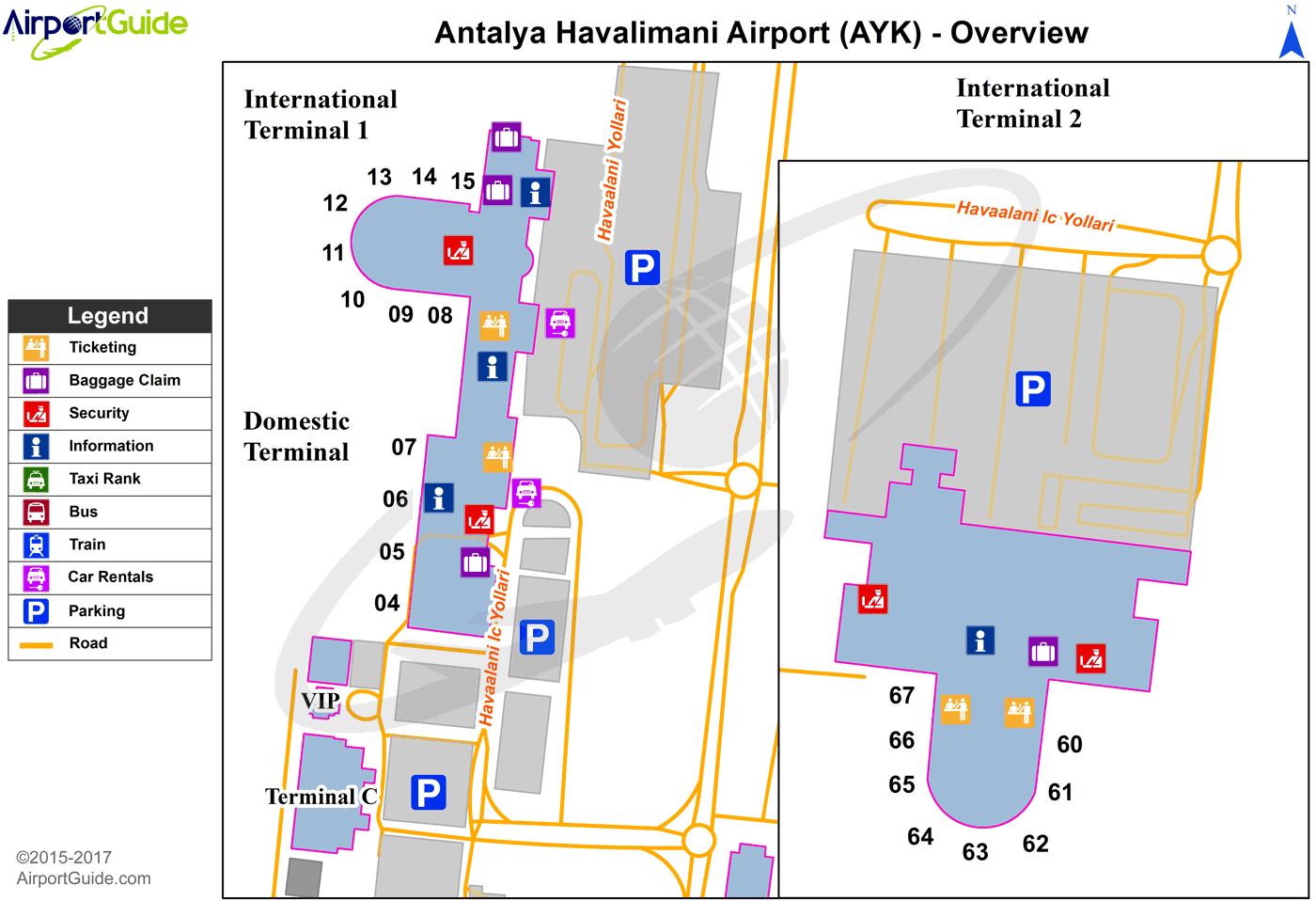 Antalya - Antalya International (AYT) Airport Terminal Map - Overview