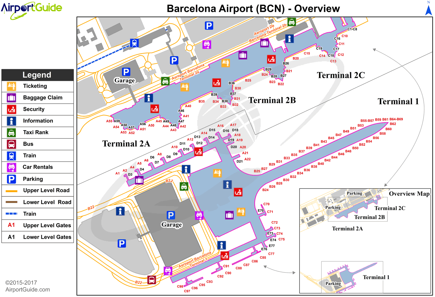 Barcelona - Barcelona International (BCN) Airport Terminal Map - Overview