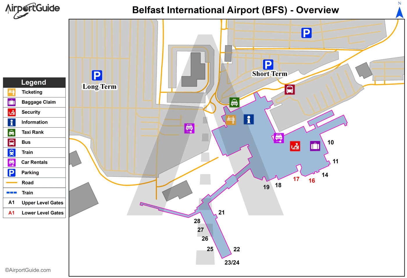 Belfast - Belfast International (BFS) Airport Terminal Map - Overview
