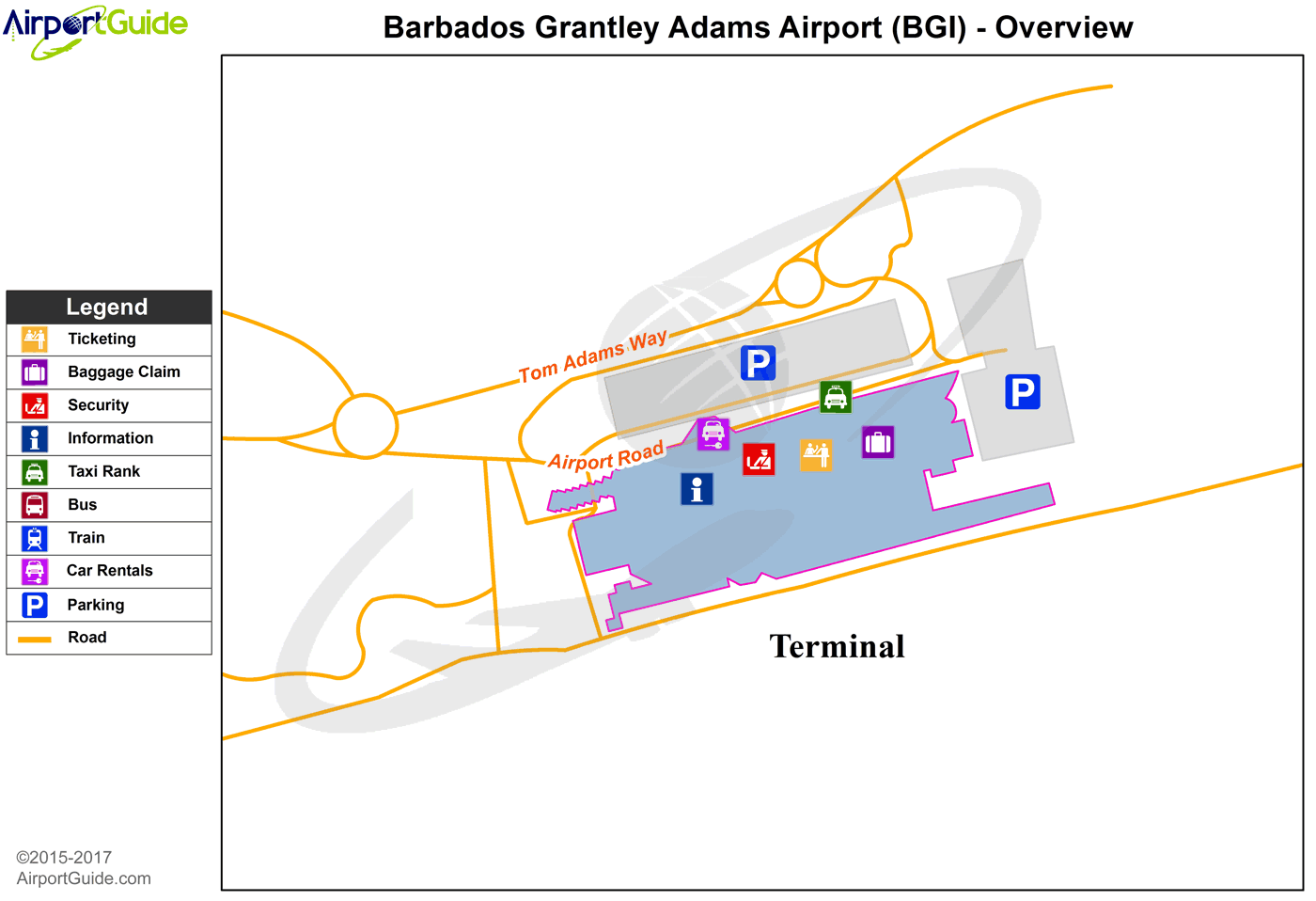 Bridgetown - Sir Grantley Adams International (BGI) Airport Terminal Map - Overview