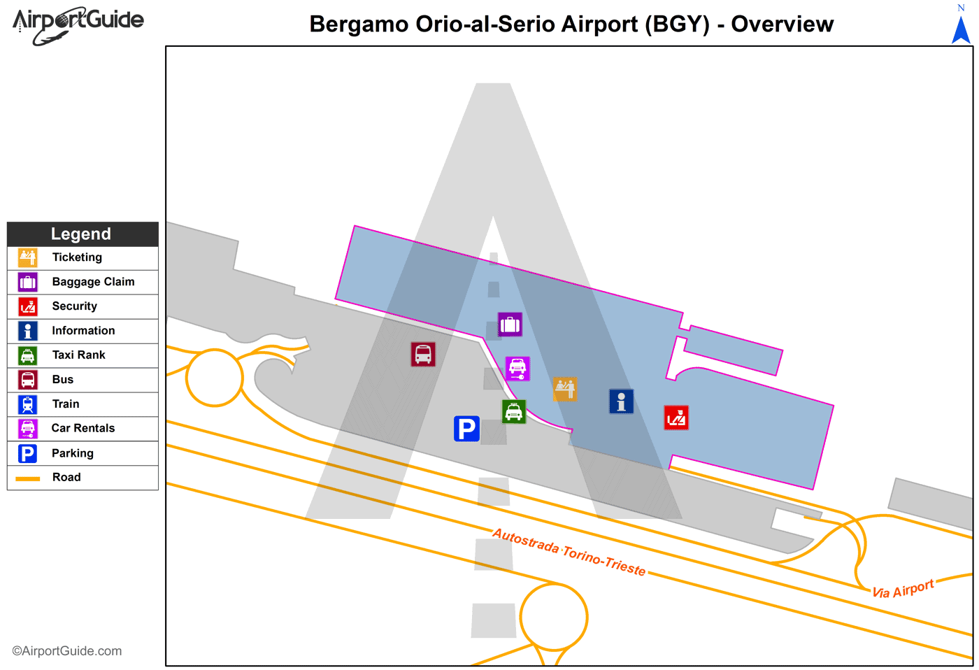 Bergamo - Il Caravaggio International Airport (BGY) Airport Terminal Map - Overview