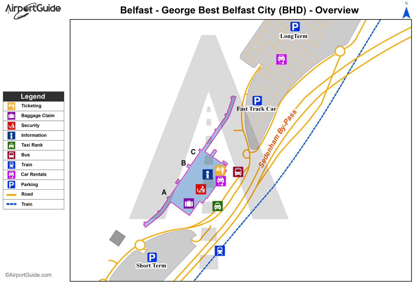 Belfast - George Best Belfast City (BHD) Airport Terminal Map - Overview