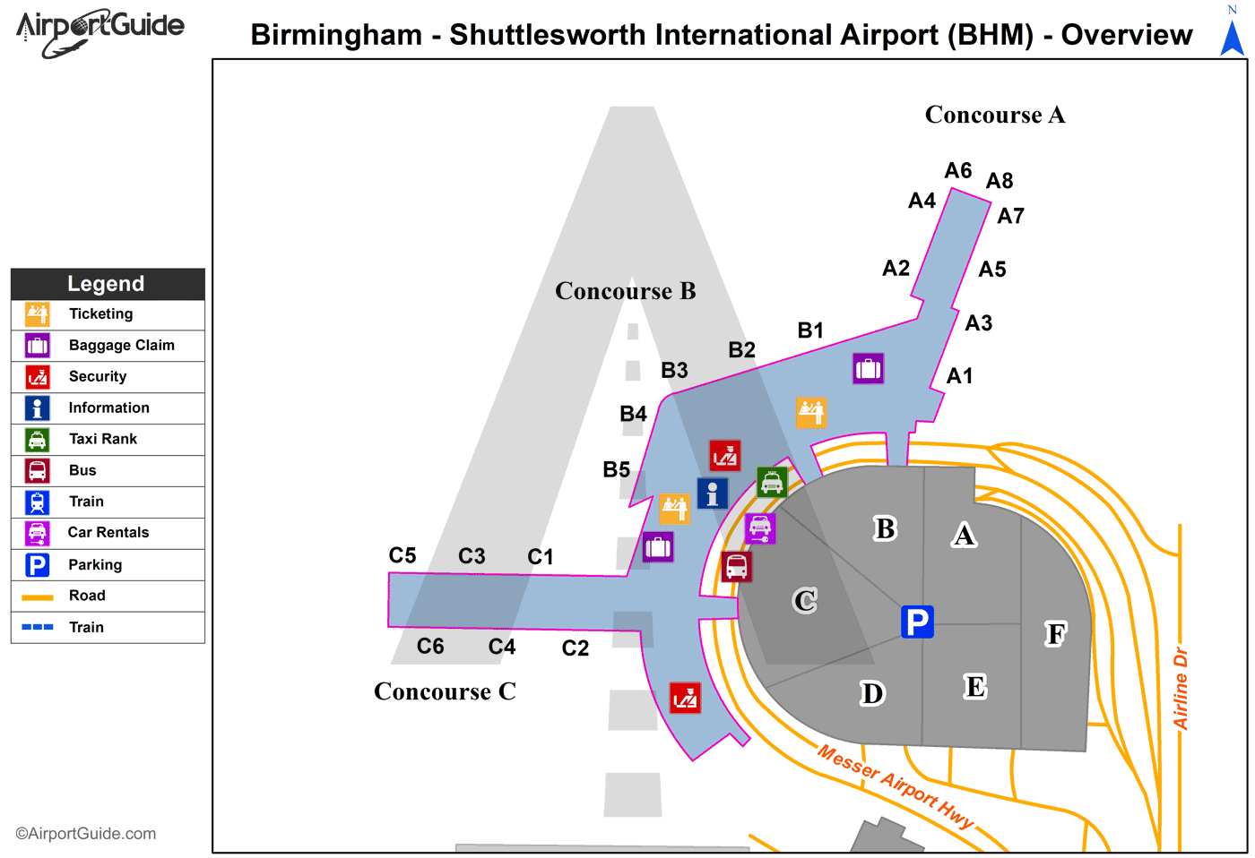 Birmingham - Birmingham-Shuttlesworth International (BHM) Airport Terminal Map - Overview