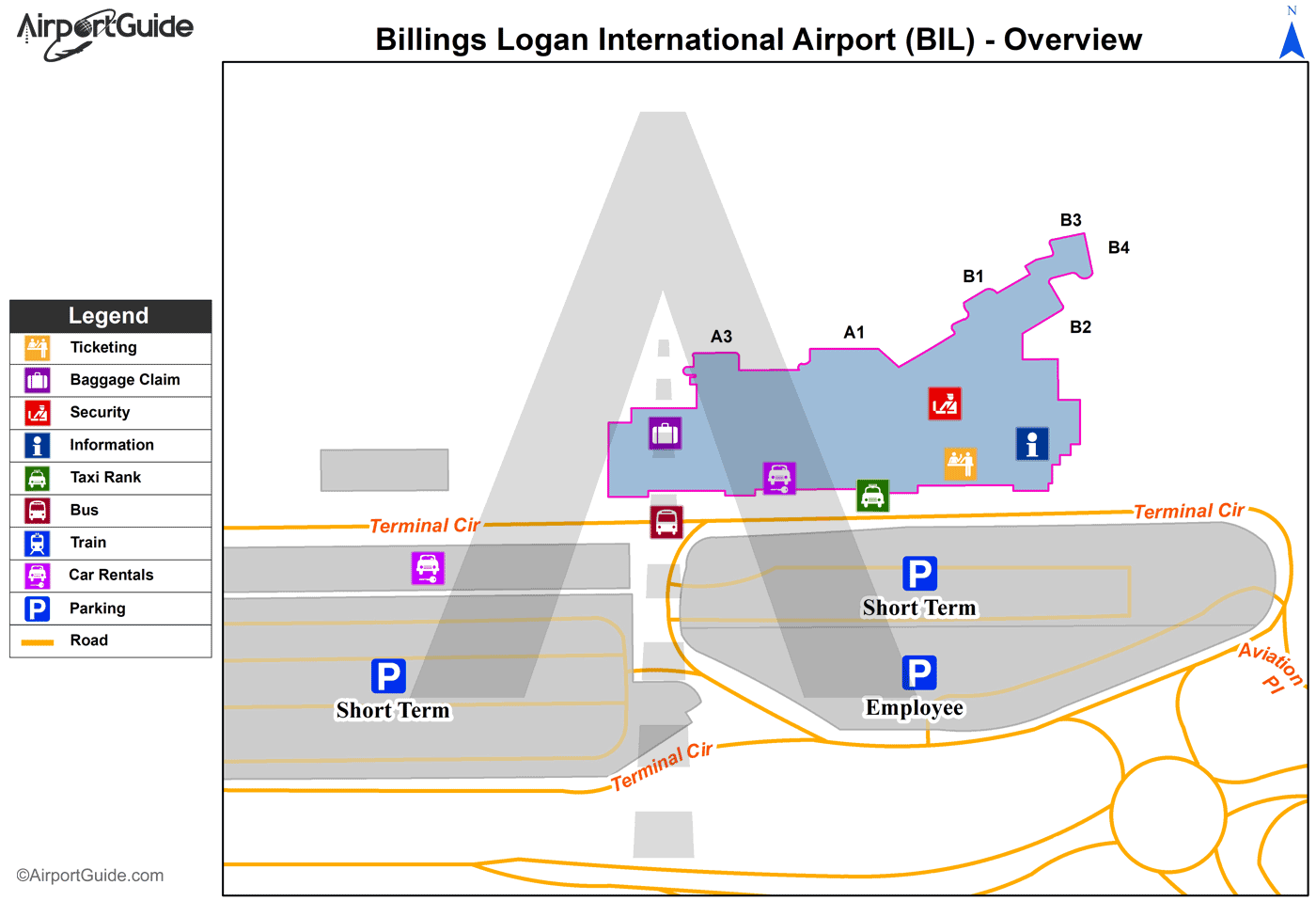Billings - Billings Logan International (BIL) Airport Terminal Map - Overview