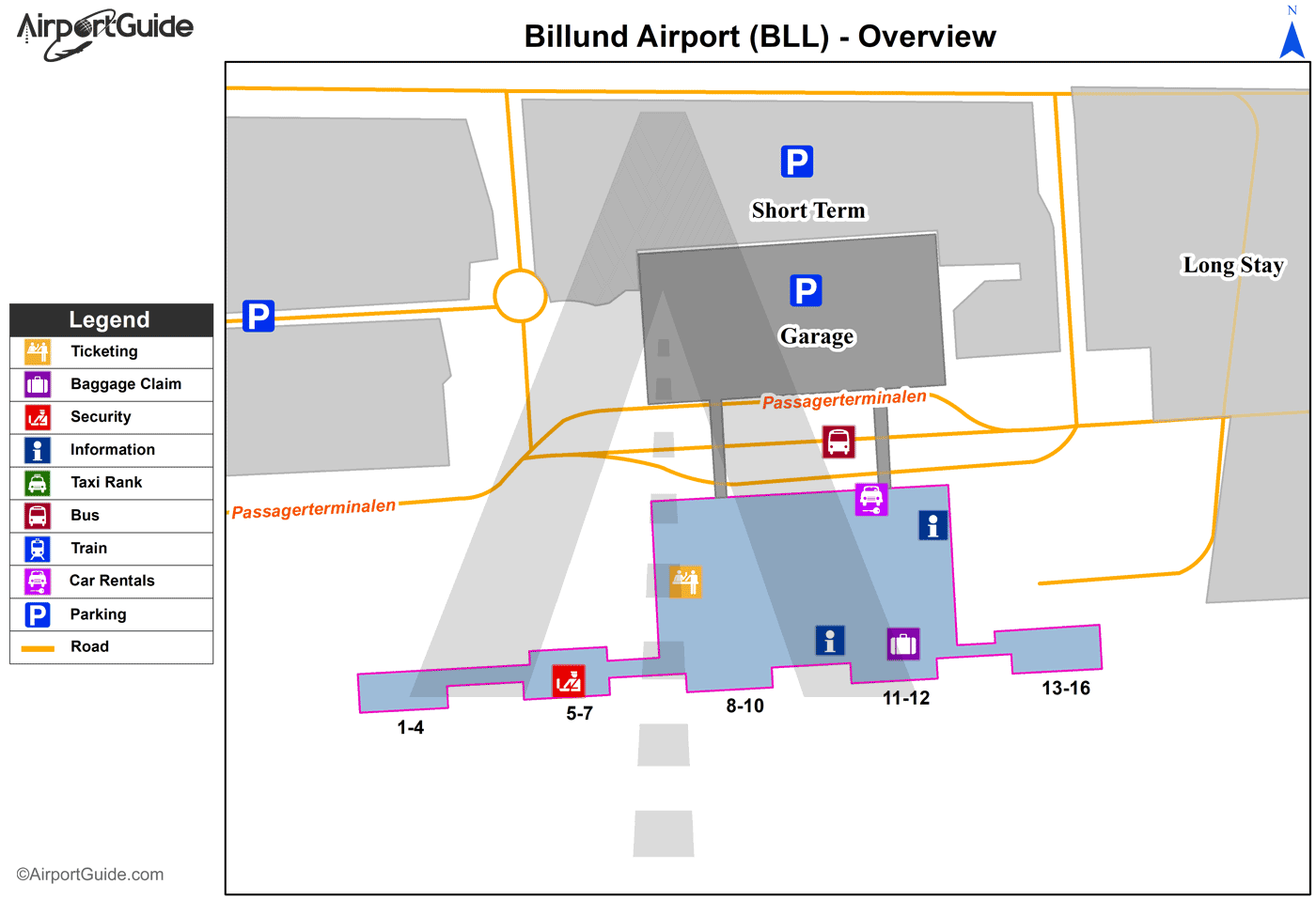 Billund - Billund (BLL) Airport Terminal Map - Overview