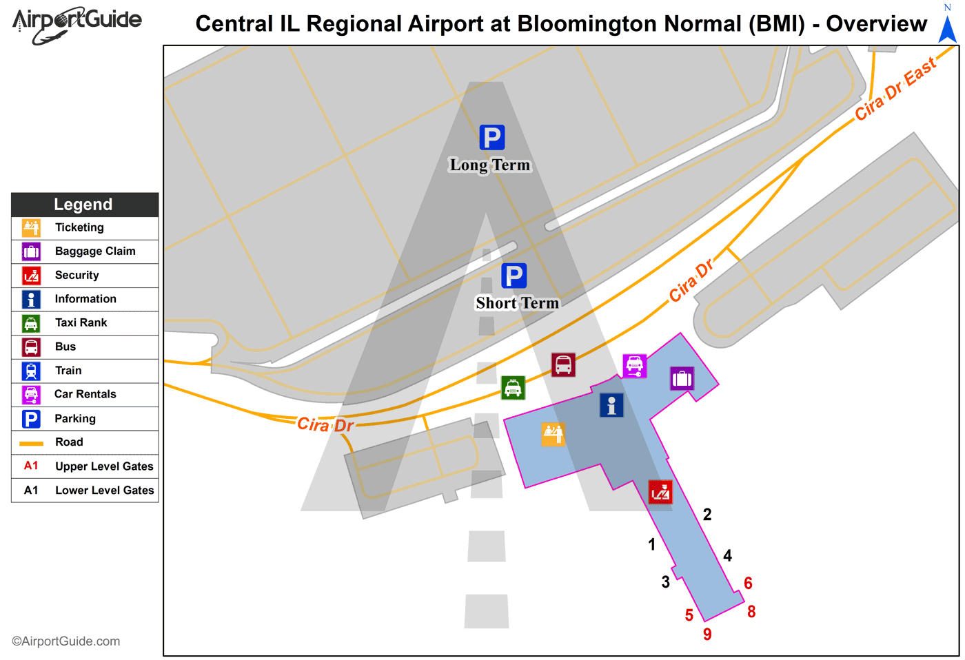 Bloomington/Normal - Central Il Regional Airport At Bloomington-Normal (BMI) Airport Terminal Map - Overview