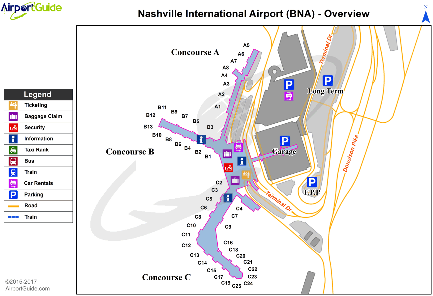 Nashville - Nashville International (BNA) Airport Terminal Map - Overview