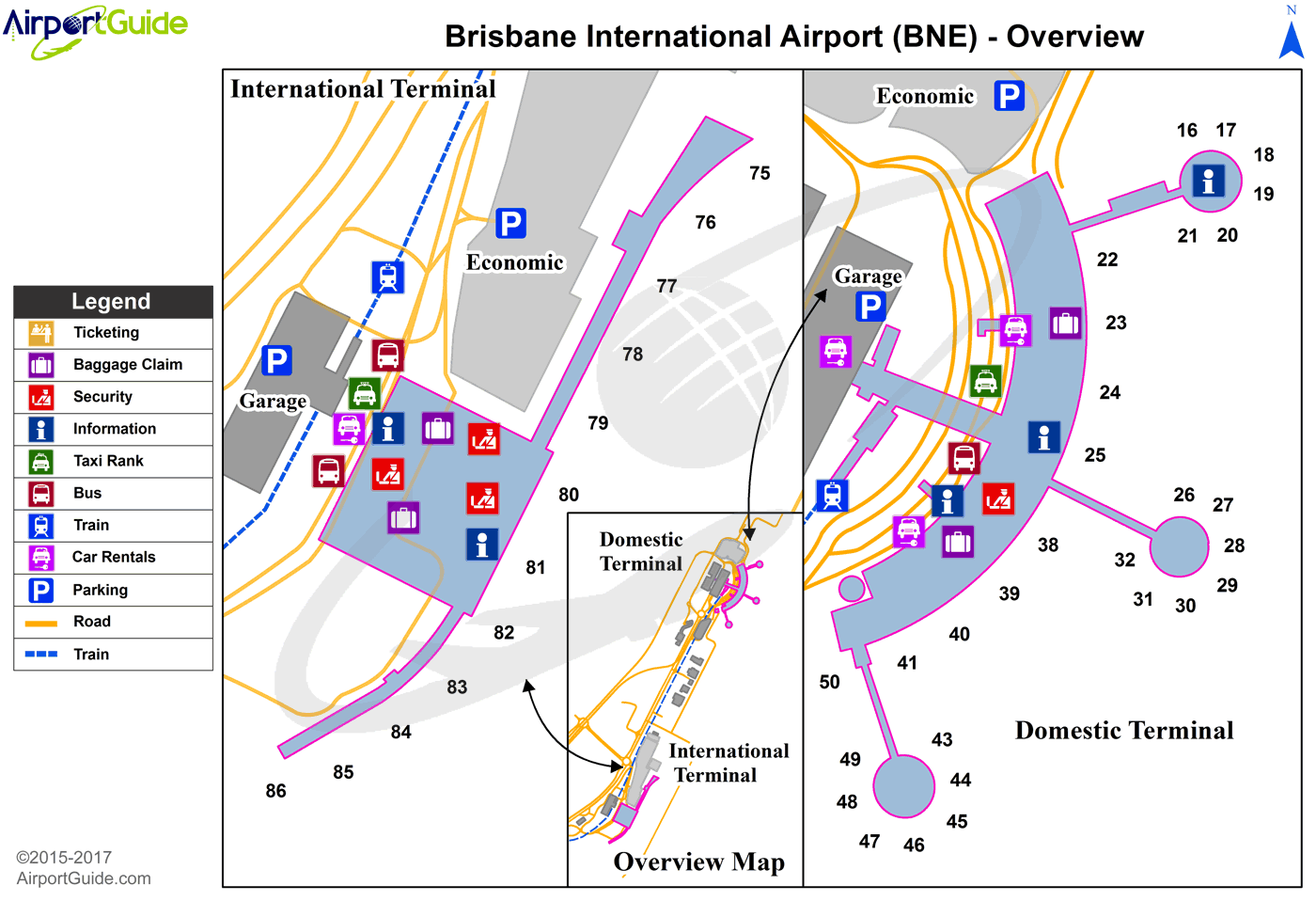 Brisbane - Brisbane International (BNE) Airport Terminal Map - Overview