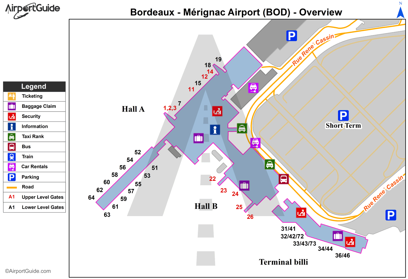 Bordeaux/Mérignac - Bordeaux-Mérignac (BA 106) (BOD) Airport Terminal Map - Overview