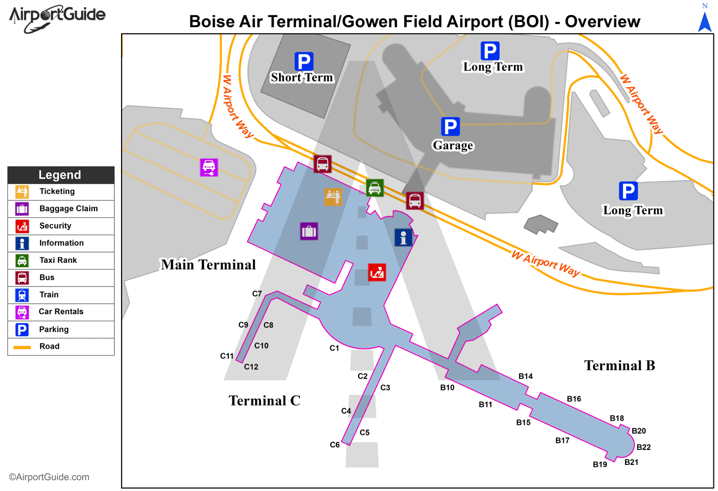 Boise - Boise Air Terminal/Gowen Field (BOI) Airport Terminal Map - Overview