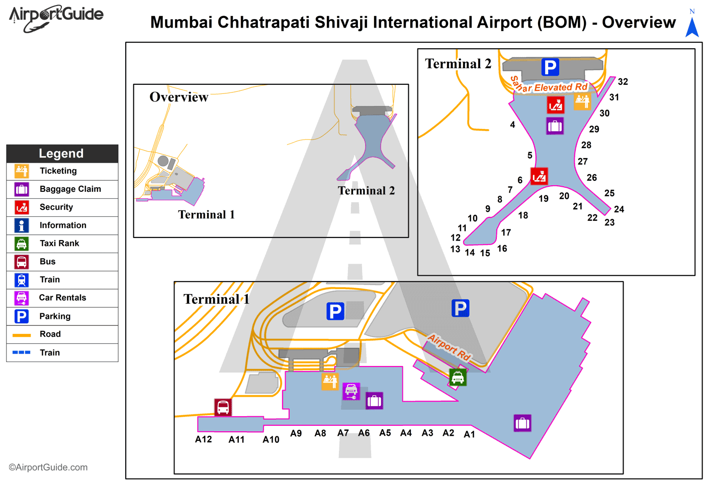 Bombay (Mumbai) - Chhatrapati Shivaji International (BOM) Airport Terminal Map - Overview