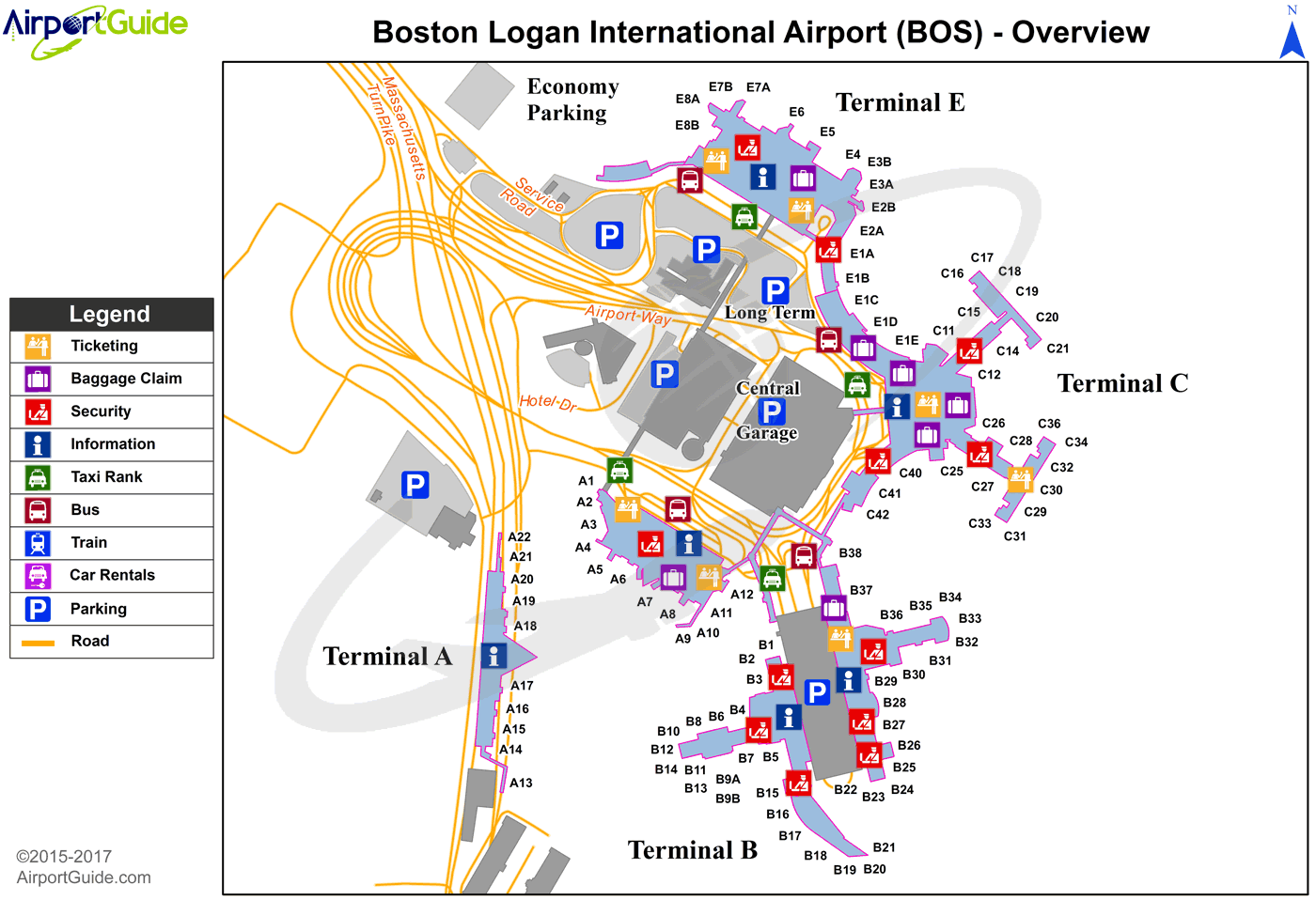 Boston - General Edward Lawrence Logan International (BOS) Airport Terminal Map - Overview