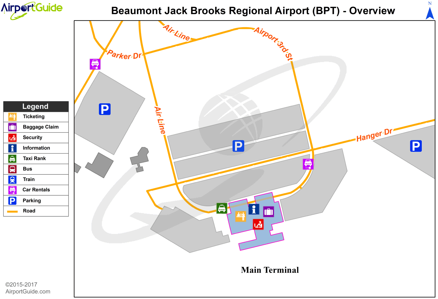 Beaumont/Port Arthur - Jack Brooks Regional (BPT) Airport Terminal Map - Overview