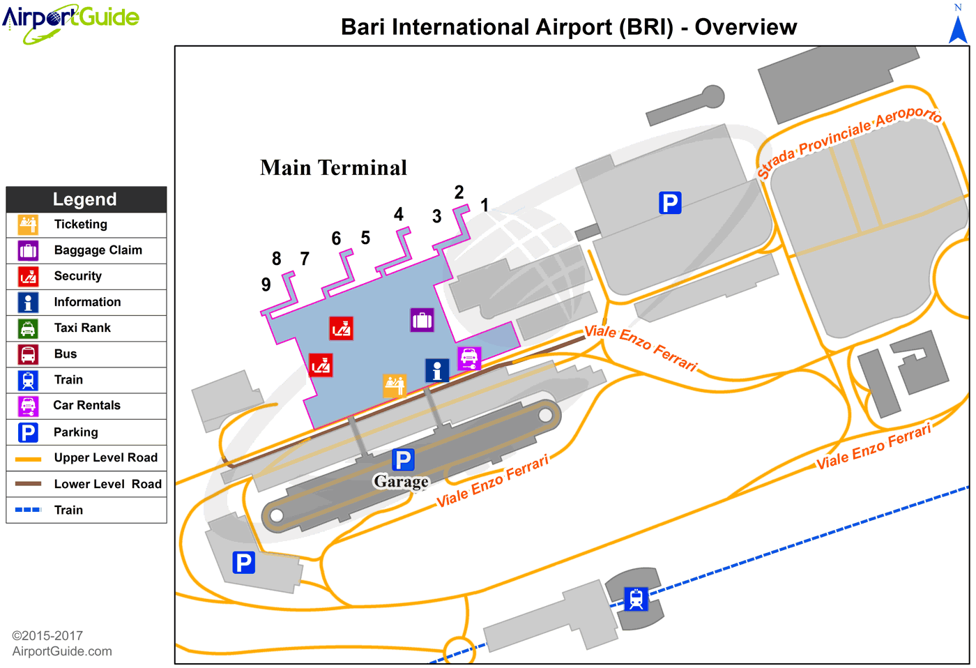 Bari - Bari / Palese International (BRI) Airport Terminal Map - Overview