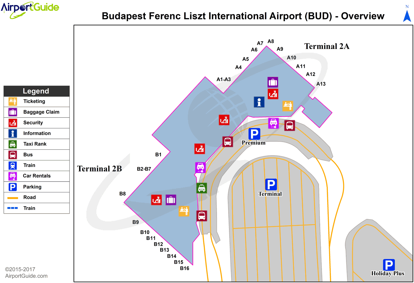 Budapest - Budapest Liszt Ferenc international (BUD) Airport Terminal Map - Overview