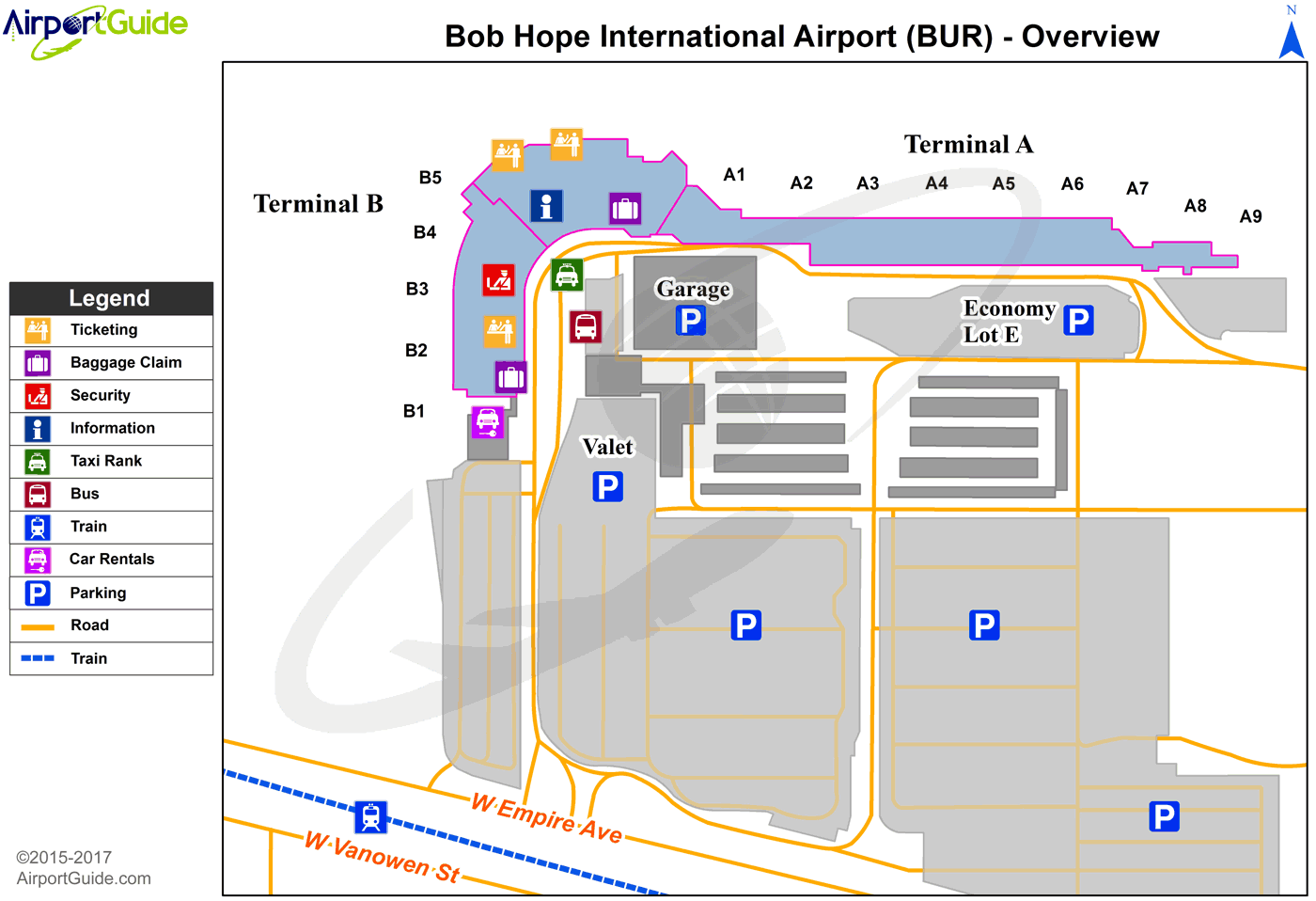Burbank - Bob Hope (BUR) Airport Terminal Map - Overview